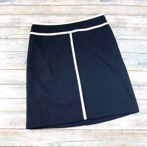 Ann Taylor Navy and White Sripe Pencil Skirt Sz 0